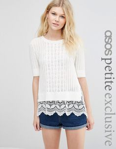 ASOS+PETITE+Jumper+in+Pointelle+with+Crochet+Trim
