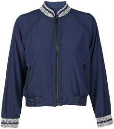 Pre-owned RAG AND BONE Navy Blue Silk Astrid Blouson Jacket- Size M