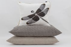 #Emperor #DragonFly cushion with #crisscross black and taupe cushions #cushioncombo