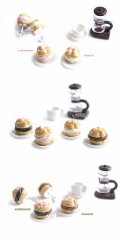 boucles d'oreilles | choux à la crème | bijoux gourmands | French cream puffs | Cream puff pastry | steel stud earrings | Unique earring | dessert jewelry | polymer clay miniatures | miniature food art handmade in France by La Nostalgie #uniquegifts #foodearrings #cutestudsgirls