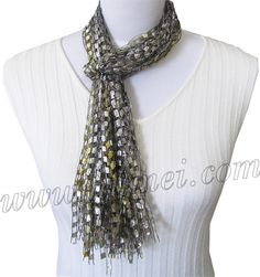 Ladder Yarn Ribbon scarf-is just 60-inch lengths tied in center. dot clear nail polish on ends to prevent fraying