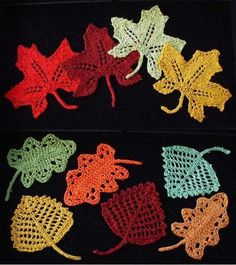 Crochet lace leaves