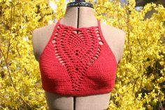 crop top cropped top pineappel crochet bikini top by JezebelAdrian