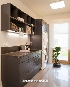 10 Kannustalon Lato - Kodinhoitohuone | Asuntomessut Laundry In Bathroom, Laundry Rooms, Laundry Design, Interior Lighting, Mudroom, My Dream Home, Home Appliances, Kitchen, House