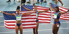 Americans Brianna Rollins, Nia Ali, Kristi Castlin sweep medals in 100 hurdles…