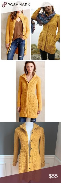Anthropologie Strathmore Sweater Jacket Size XS. Excellent condition, may have slight fuzziness due to nature of fabric content. Color is mustard yellow. Will post measurements soon. Only selling because I have sized out of it. Anthropologie Sweaters
