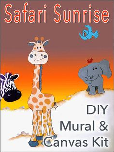 DIY Wall Mural & Canvas Pattern Kit - comes with 18 elephants, giraffe, lions, birds and their friends. We include eight pages of tips and examples, and there's a series of great how-to videos on our website. Craft Kits For Kids, Art For Kids, Girls Room Design, Crow Art, Diy Wall Art, Canvas Patterns, Giraffe, Elephants, Creative Art