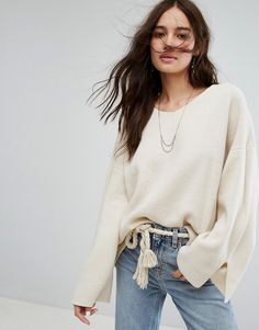 Moon River Basic V Neck Sweater - White
