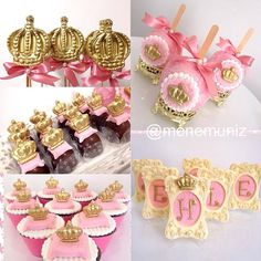 Imagem relacionada Baby Shower Princess, Princess Birthday, Princess Party, Girl Birthday, Birthday Parties, Baby Shower Treats, Baby Shower Cookies, Baby Shower Parties, Baby Boy Shower