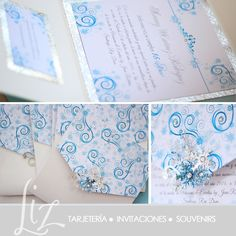 Fantasía de Invierno ❄ 15 Años de Zurenny ❄ invitaciones PocketFold blue / azul / invitations / cumpleaños / birthday cards / eventos / papergoods / snowflakes / Copos de Nieve