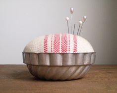 Jello Mold Pincushion - Rustic Cotton Red Stripe. $17.50, via Etsy.
