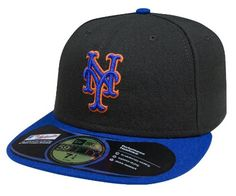 New York Mets Authentic On Field Road 59FIFTY Cap, Black/Royal Blue Bill