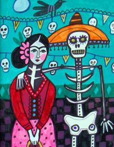 Frida Kahlo , Day of the Dead, Heather Galler Art via Etsy