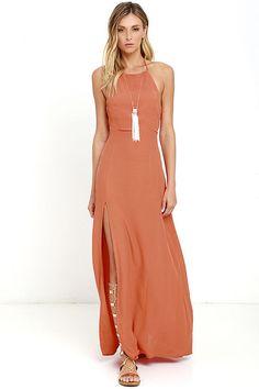 Mink Pink Spice Market Halter Maxi Summer Dress Thigh Split Mink Pink Dress