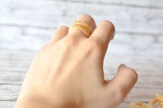 Beige Nude Resin Ring With Gold Flakes - Thin Faceted Band Ring - Resin Stacking Ring - Minimal Resin Jewelry