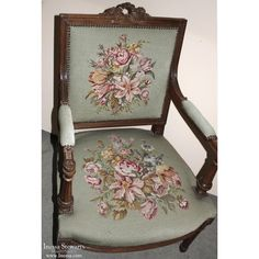 Neoclassical Armchair with Needlepoint - Inessa Stewart's Antiques