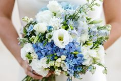 blue and white wedding flowers bridal flowers - Page 19 of 100 - Wedding Flowers & Bouquet Ideas Wedding Flower Guide, White Wedding Bouquets, White Wedding Flowers, Bride Bouquets, Bridal Flowers, Floral Wedding, Blue Hydrangea Wedding, Hydrangea Garden, Flower Bouquets