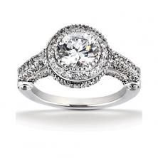 14k White Gold Diamond Accented Engagement Ring Containing 1.16 Carats Of Diamonds In Hi Color And Si1-si2 Clarity