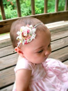 Shabby flower baby headband by TinyTulipBoutique, $6.00