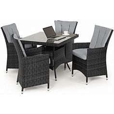 san diego rattan garden furniture grey 4 seater square table set