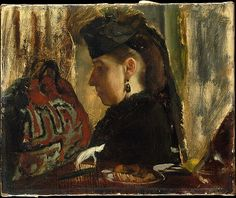 Edgar Degas (French, 1834–1917). Mademoiselle Marie Dihau (1843–1935), 1867–68.  The Metropolitan Museum of Art, New York. H. O. Havemeyer Collection, Bequest of Mrs. H. O. Havemeyer, 1929 (29.100.182) | Marie Dihau was a successful pianist and singer who lived in Lille but often came to Paris to perform. #paris