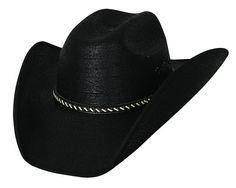 849c27f8f3c1b Bullhide Cowboy Strong 30X Mexican Palm Leaf Straw Black Cowboy Hat 2702