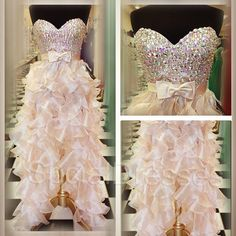 Bowknot Rhinestones Pearl Pink Sheath/Column Sweetheart Neckline  High -low Prom/Homecoming Dress