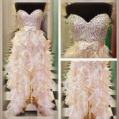 Bowknot Rhinestones Pearl Pink Sheath/Column Sweetheart Neckline  High -low Prom/Homecoming Dress