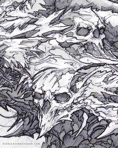 """Gefällt 5,372 Mal, 9 Kommentare - Dibujante nocturno (@dibujantenocturno) auf Instagram: """"Skulls . #artoftheday #artwork #instaart #instadraw #fantasyart #arte #art #artetradicional…"""""""