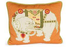 Needlepoint Elephant Pillow on OneKingsLane.com