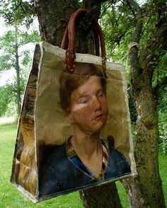 old oil paintings used for bags