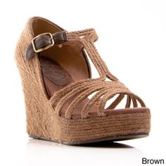 Nvy Women's 'Grub' T-Strap Open-toe Espadrille Wedges | Overstock™ Shopping - Great Deals on Wedges