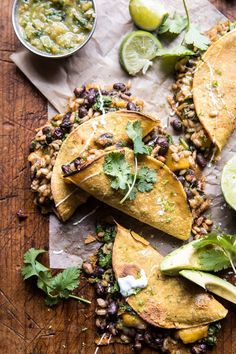 Chipotle Black Bean, Brown Rice, and Mango Quesadillas.-Chipotle Black Bean, Brown Rice, and Mango Quesadillas. Mexican Food Recipes, Vegetarian Recipes, Dinner Recipes, Healthy Recipes, Easy Recipes, Cod Recipes, Skillet Recipes, Dinner Ideas, Chicken Recipes