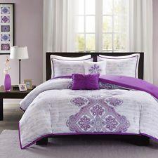 Hermoso púrpura gris con volantes global exótico Chic conjunto de Edredón Moderno & Almohadas