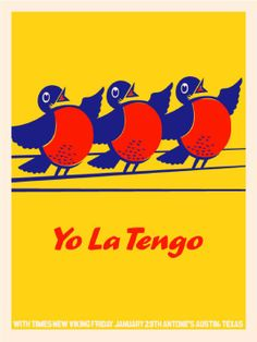 An original signed limited edition serigraph concert poster for a January 2010 performance by hit indie rock band Yo La Tengo with Times New Viking at ANtone's in Austin, Texas. The poster was . Vintage Music Posters, Indie Music, Cd Music, Music Illustration, T Art, Music Images, Band Posters, Concert Posters, Album Covers