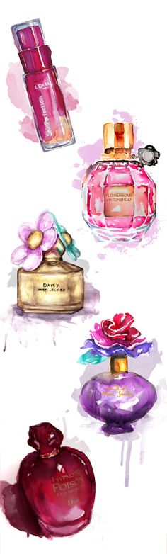 #watercolor #fashion #perfume #illustration #by #liz #meester #art #drawing #drawn #artist #pink #feminine #girls # magazine #fashion #makeup #flower #floral #ink #ecoline
