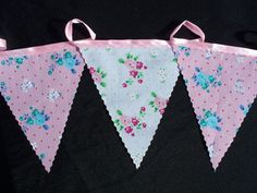 2 meters wedding bunting pink rose on white and aqua rose on pink wedding buntin