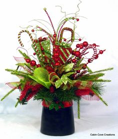 Christmas Top Hat Centerpiece Floral Arrangement Holiday New Year Wedding red lime green Unique Whimsical BlinG by Cabin Cove Creations
