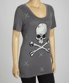 Take a look at this Charcoal Skull Embellished Tee - Plus by Bus Stop on #zulily today!