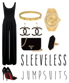 """""""Jumpsuit"""" by marce104 ❤ liked on Polyvore featuring Christian Louboutin, Prada, Nadia Tarr, Jaeger, Chanel, Rolex, Cartier and sleevelessjumpsuits"""