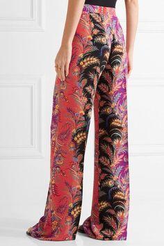 Etro - Paisley-print Silk Crepe De Chine Wide-leg Pants - Coral - IT42