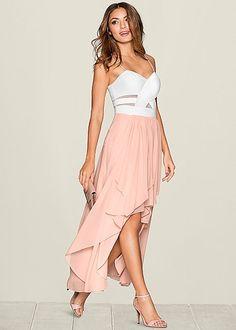 Pink & White Ruffle Detail Dress  | VENUS