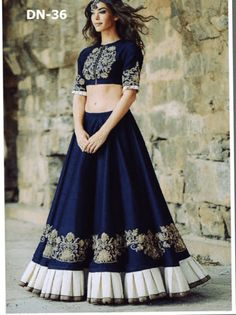 Buy Ramapir Collection Blue Banglory Silk Designer Wear Lehenga Choli online in India at best price.mpress everyone around with this bhagalpuri lehenga choli in navy blue. This latest designed lehenga Indian Gowns Dresses, Indian Fashion Dresses, Indian Designer Outfits, Designer Dresses, Choli Designs, Lehenga Designs, Blouse Designs, Indian Attire, Indian Ethnic Wear