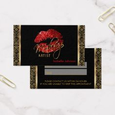 #makeupartist #businesscards - #Makeup Artist Red Glitter & Damask Appointment Business Card