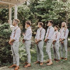 Groomsmen Attire Grey, Groomsmen Suspenders, Groomsmen Outfits, Leather Suspenders, Wedding Suspenders, Groomsman Attire, Mismatched Groomsmen, Casual Groom Attire, Casual Wedding Attire