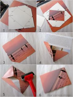 recycled stationery envelopes from magazine pages...tutorial on the blog - four corners design