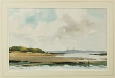 Edward Wesson (1910-1983) watercolour, signed & dated '81, 30 x 48 cm, framed & glazed The Solent from Shalfleet, Isle of Wight    Born in Blackheath, London in 1910, Edward Wesson was one of Britain's most outstanding 20th century watercolourists. His distinctive style used very little pencil outline. He preferred to dampen his paper and then apply his watercolours 'wet on wet'. He was a regular exhibitor at the Royal Academy and from the 1950s was elected and exhibited at most of the…