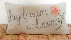 Daydream Believer Hand embroidered cushion created by vintagepolly, £20.00