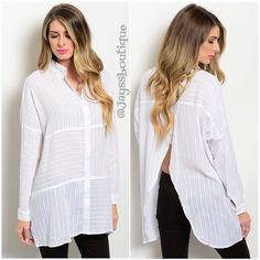 """The BOYFRIEND white button up top The boyfriend button up top. Beautiful & oversized color White. fabric: 100% COTTON Size Available: S-M-L Description: L: 30"""" B: 54"""" W: 50"""" (Measured from small) Please ask for a new listing. THANKS Tops Tunics"""