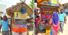 """Aabad has converted his autorickshaw into a moving water tank (or water """"hut"""" like he calls it) named 'Shudh Filter Paani,' and provides free drinking chilled water to people for free."""